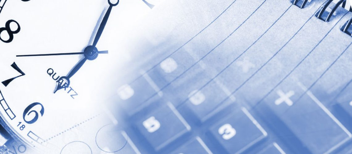 42047072 - business concept with calculator, clock and documents